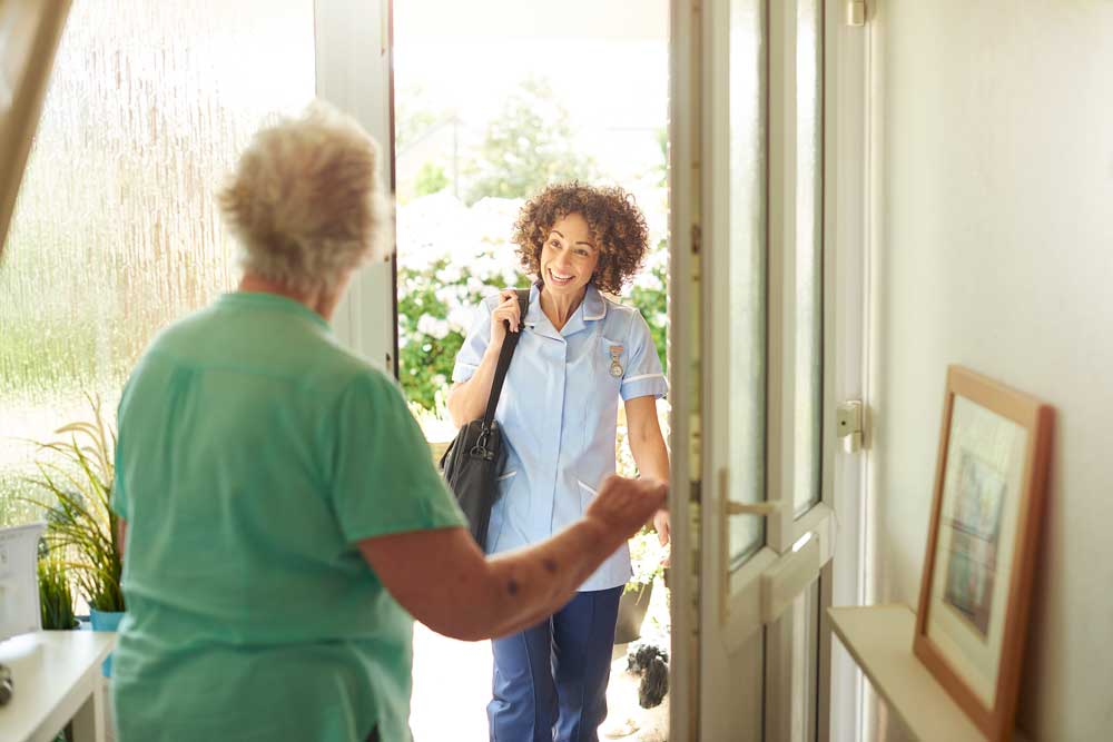 Home Health Aid at Front Door