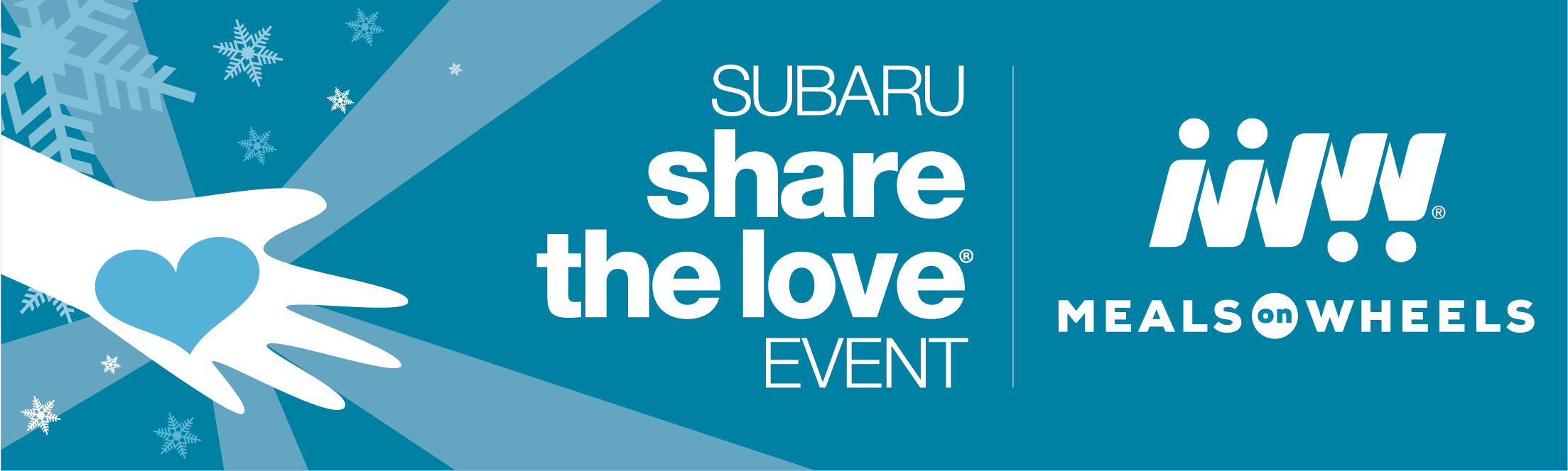 Share the Love Meals on Wheels blue banner with snowflakes